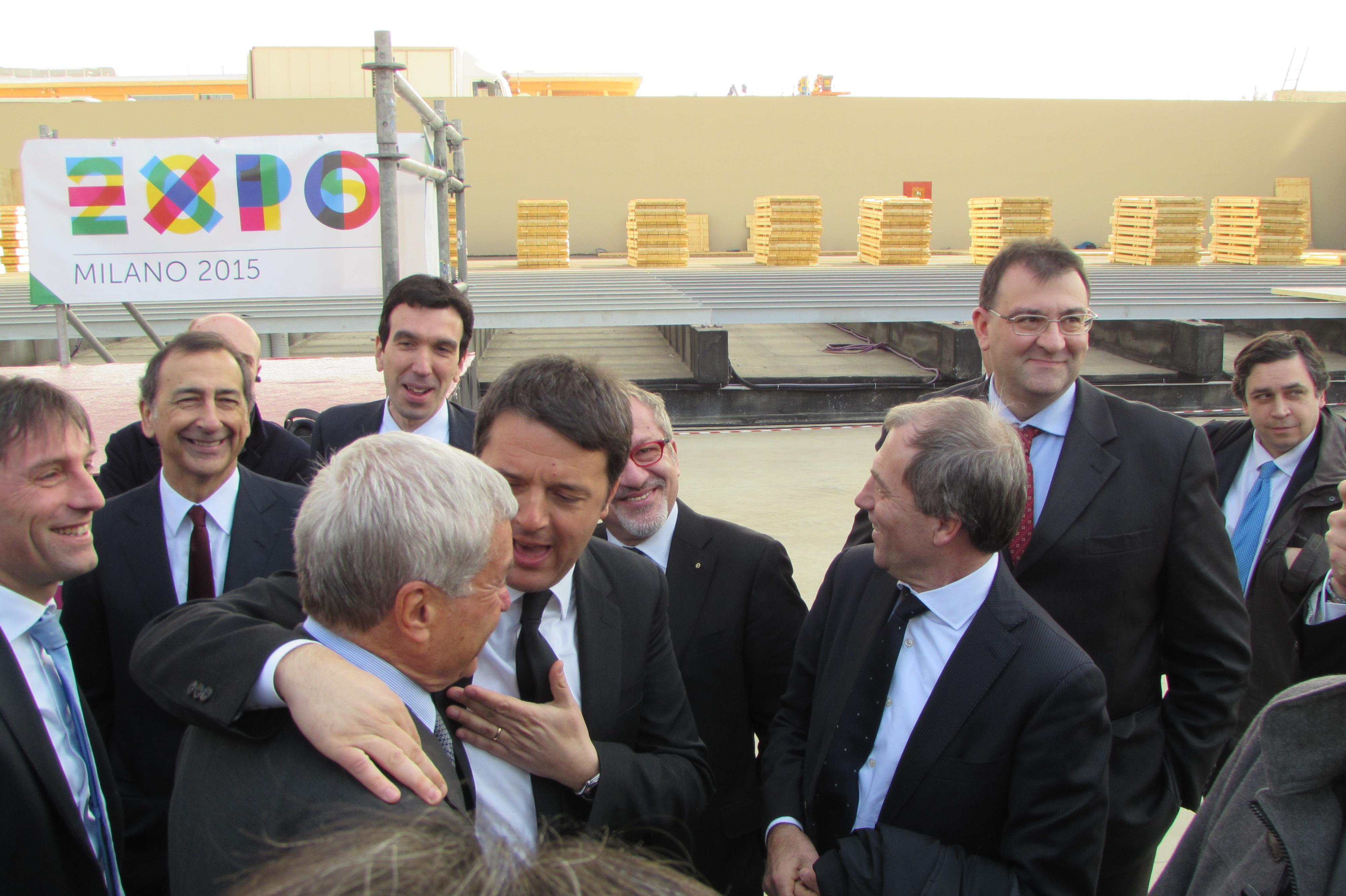 Matteo Renzi al cantiere Expo 2015