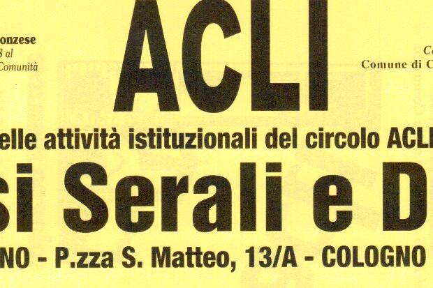 Cologno, ripartono i corsi delle ACLI