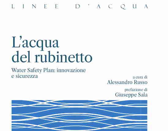 """Gruppo CAP presenta """"L'acqua del rubinetto. Water Safety Plan: innovazione e sicurezza"""""""