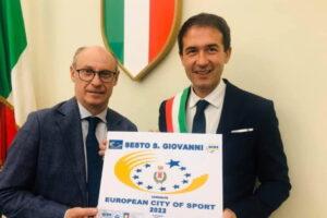 Sesto riceve la targa di Città Europea dello  Sport 2022 al CONI di Roma